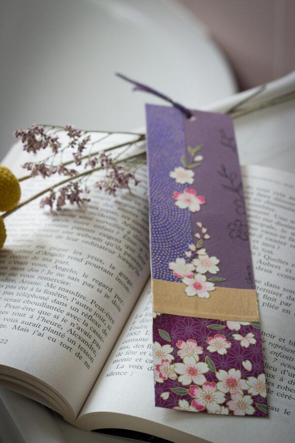 marque page violet papier washi clémica
