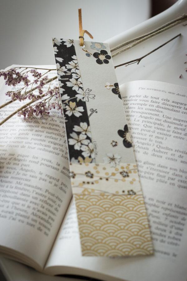 marque page clémica papier washi noir et doré