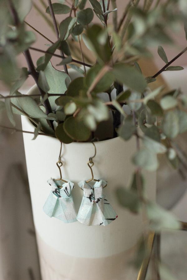 boucles oreilles origami robes Clémica