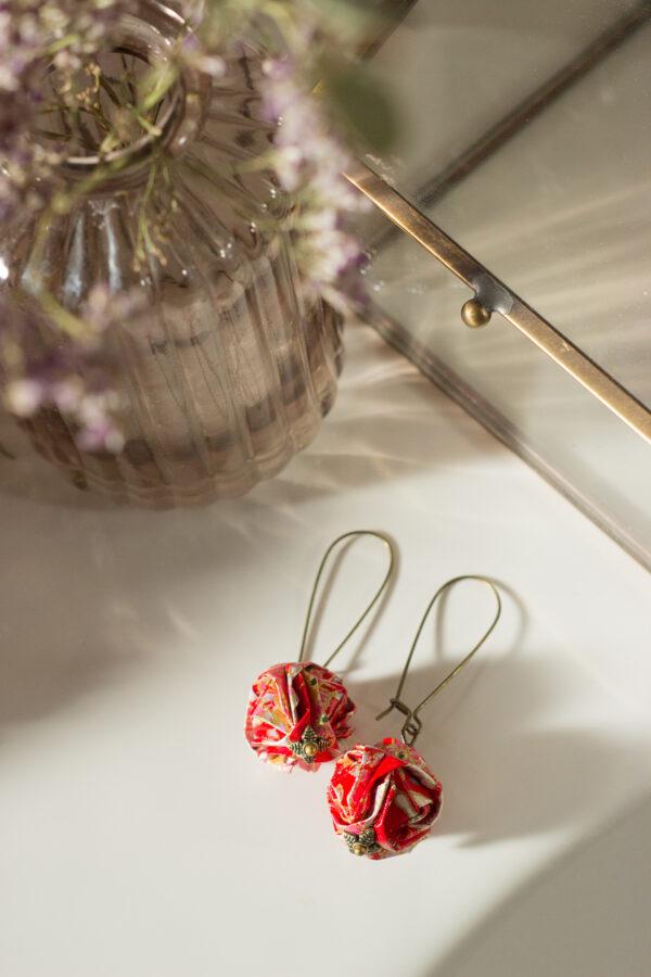 boucles d'oreilles origami boules rouges clémica
