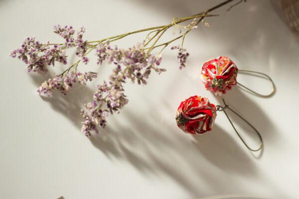 boucles d'oreilles origami boules rougesclémica