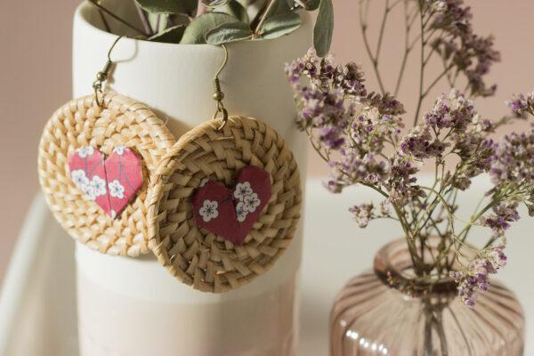 boucles d'oreilles origami coeur rotin clémica