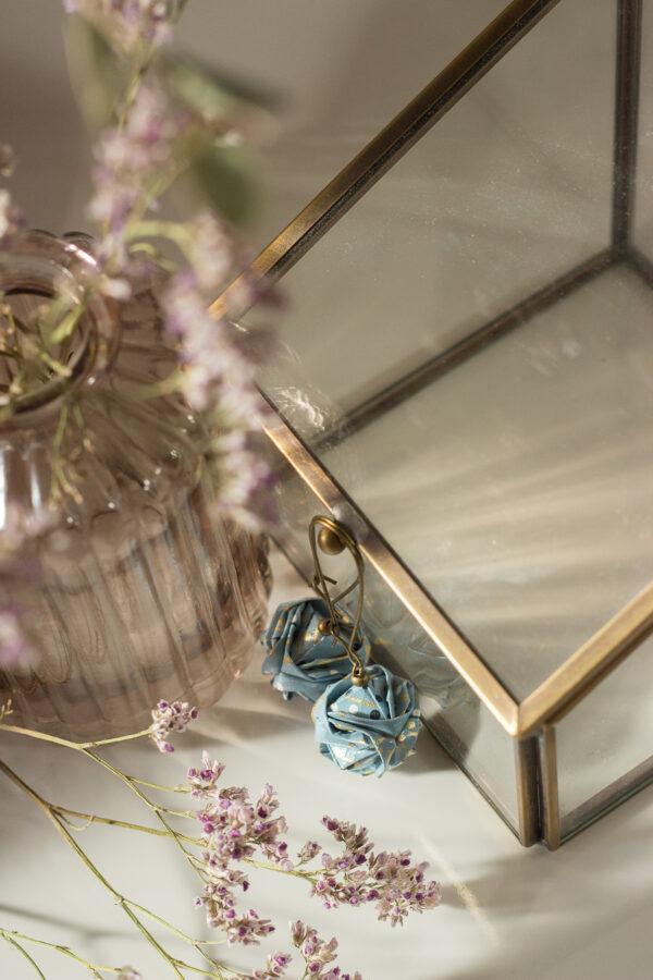 boucles d'oreilles origami boules bleu clémica