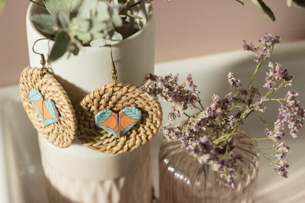 boucles d'oreilles origami coeur clémica