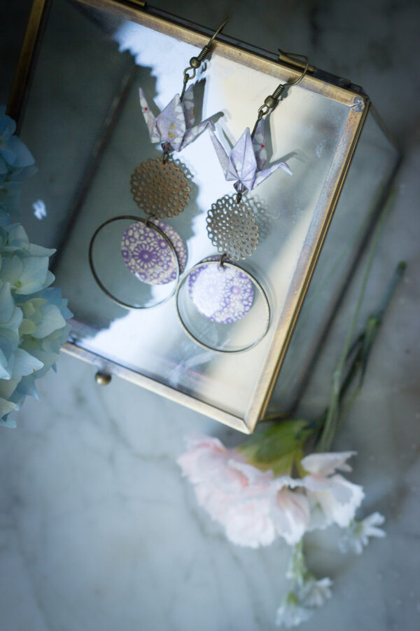 boucles d'oreilles origami grues pendantes violette clémica