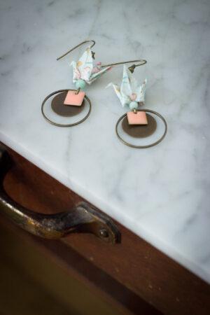 boucles d'oreilles origami grues bleu clair clémica