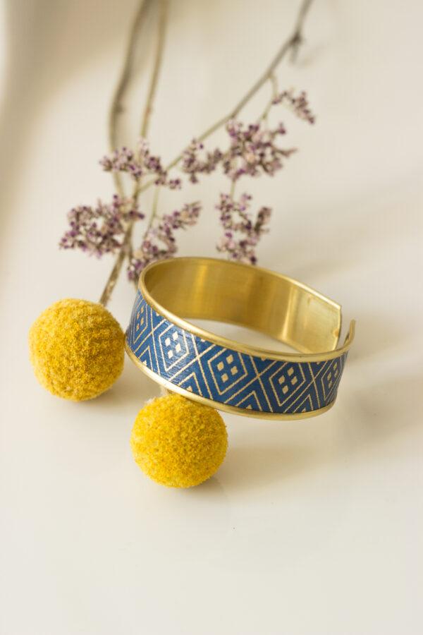 bracelet manchette rebord doré bleu nuit clémica