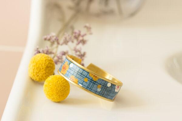 bracelet manchette papier washi bleu Clémica