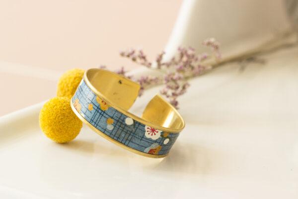 bracelet manchette papier washi fleuri Clémica