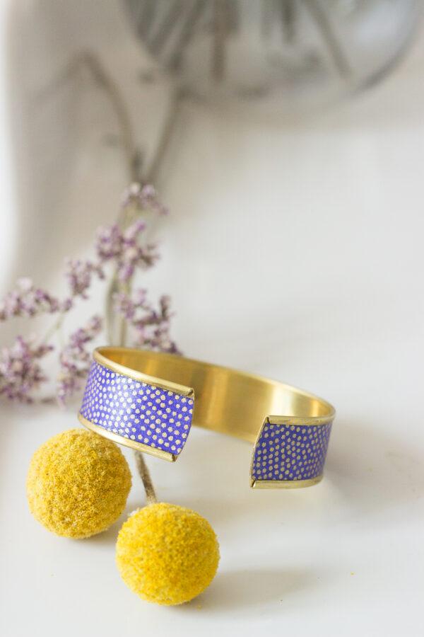 bracelet manchette rebord doré papier washi clemica