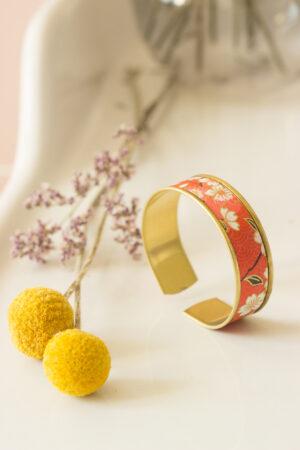 bracelet manchette papier washi corail Clémica