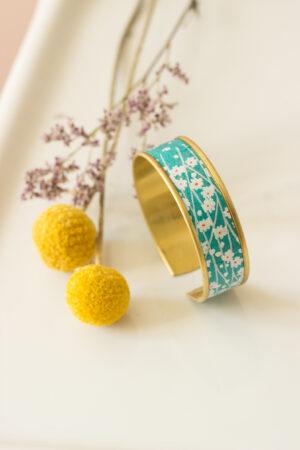 bracelet manchette rebord doré bleu turquoise clémica