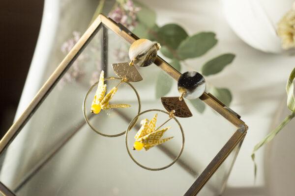 boucles d'oreilles origami grues jaunes clémica