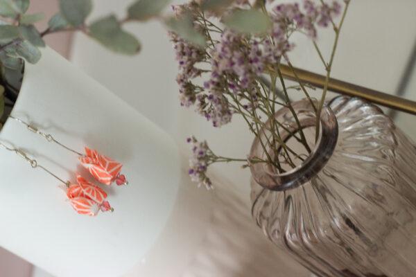boucles d'oreilles origami fleurs de lotus clémica