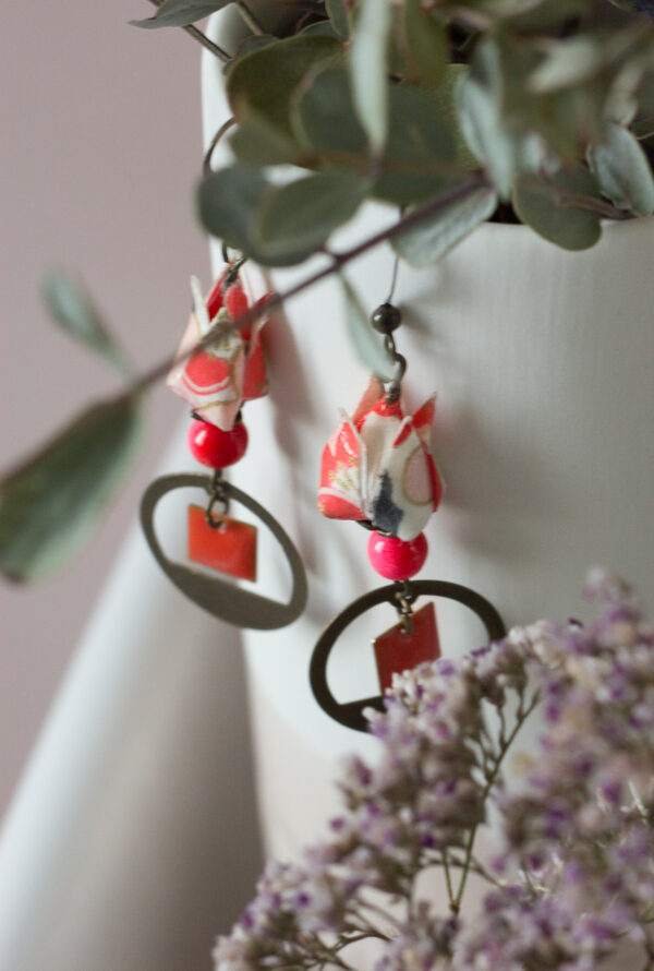 boucles d'oreilles origami fleur de lotus clémica