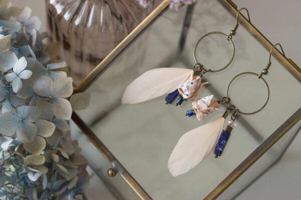 boucles d'oreilles origami fleurs de lotus et plume clémica
