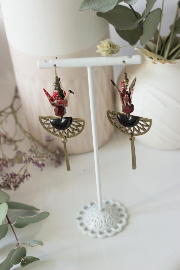 boucles d'oreilles origami grues noires clémica