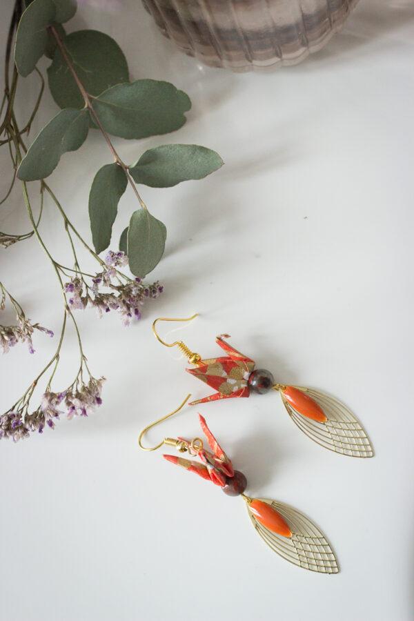 boucles d'oreilles origami grues clémica