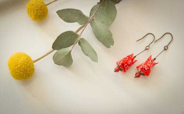 bijoux origami boucles d'oreilles origami clémica rouge