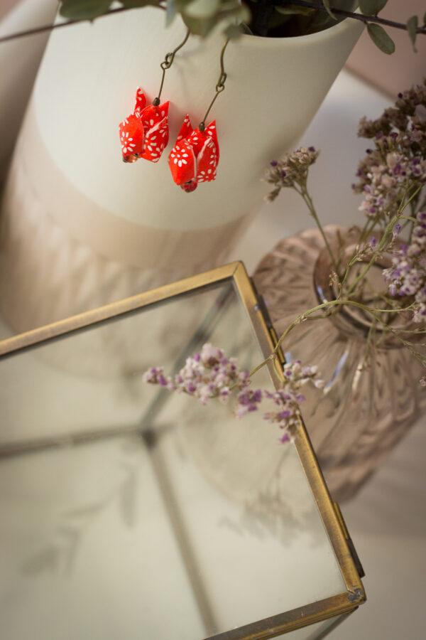 artisanat d'art en Creuse bijoux origami boucles d'oreilles origami clémica artiste en creuse