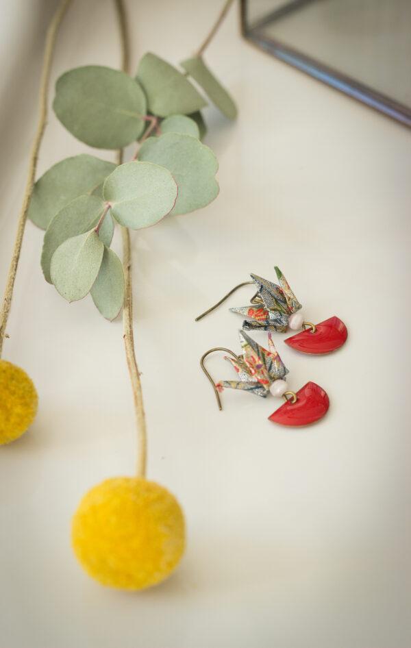 artisanat d'art en creuse artiste en creuse bijoux origami boucles d'oreilles origami clémica