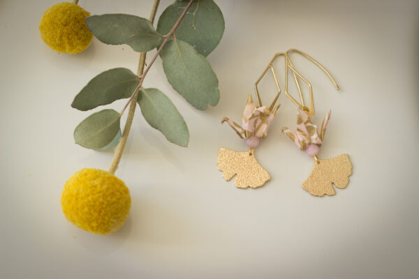 bijoux origami boucles d'oreilles origami grues clémica roses
