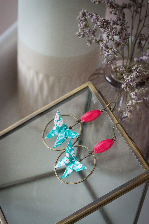 boucles d'oreilles origami papillons clémica