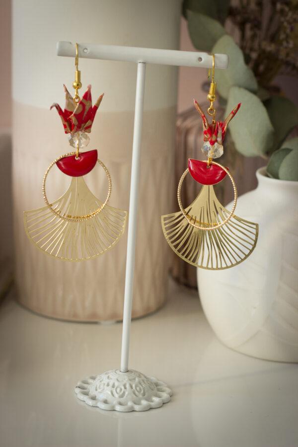 Boucles d'oreilles origami clémica bijoux origami clémica artisanat d'art en creuse