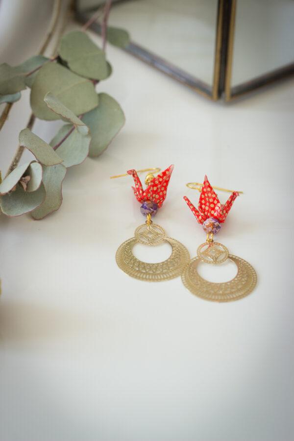 boucles d'oreilles origami bijoux origami clémica artisanat d'art en Creuse
