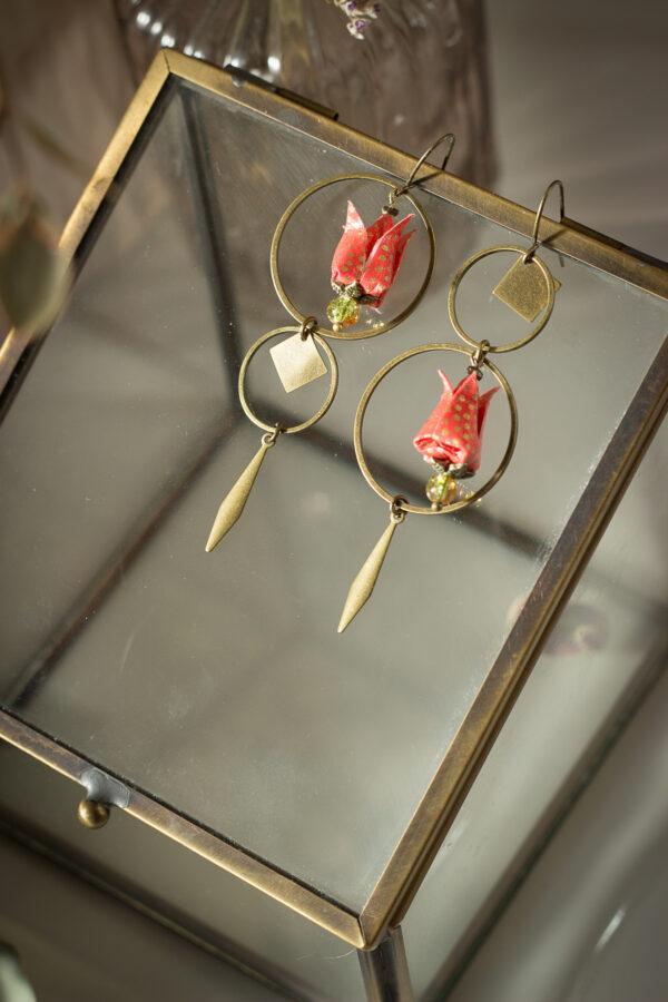 bijoux origami clemica boucles d'oreilles origami clémica artisanat d'art en creuse
