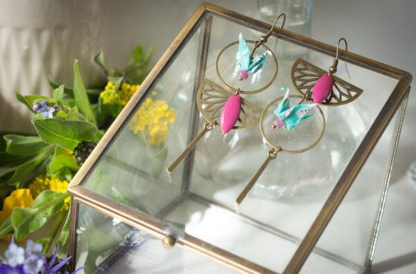 bijoux origami boucles d'oreilles origami dépareillée Clémica papier washi bijoux artisanaux fête des mères