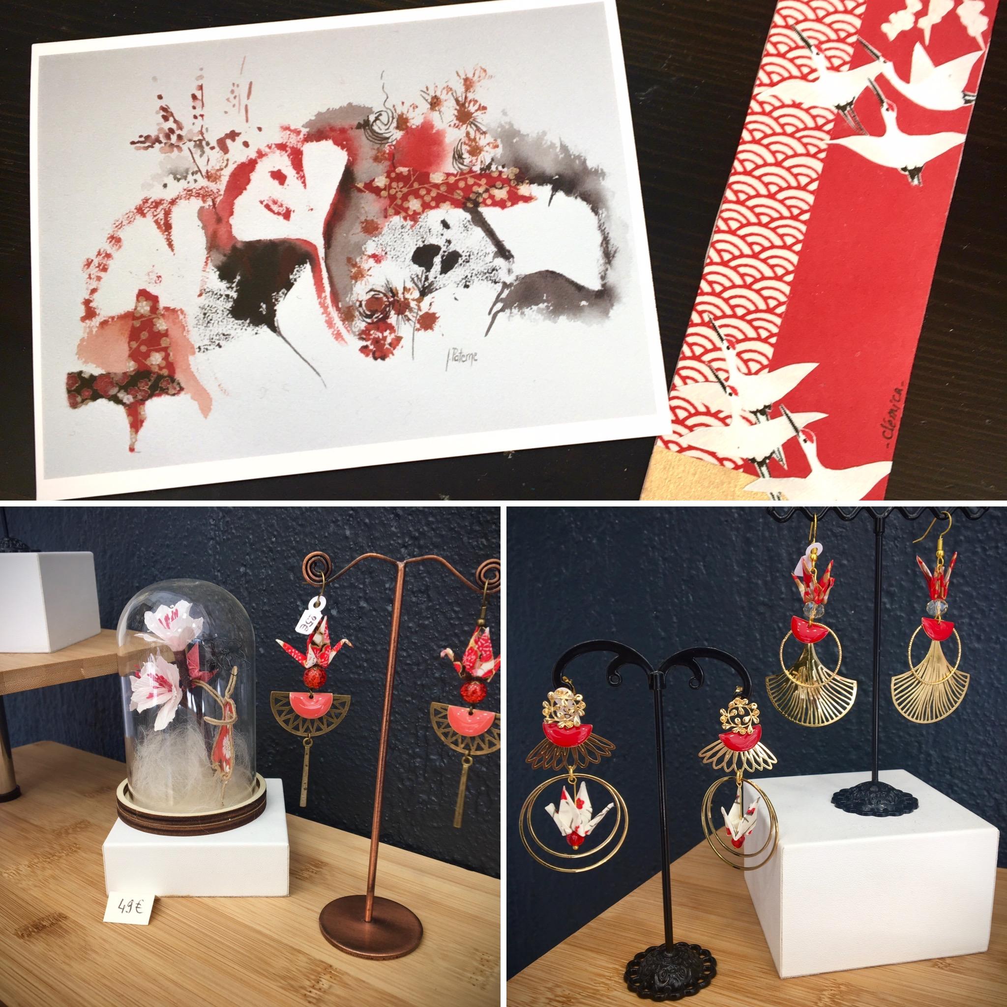 Jessica paterne clemica artisanat d'art artiste en creuse bijoux origami boucles d'oreilles origami
