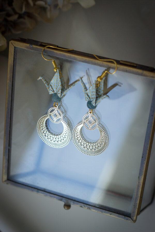 bijoux origami boucles d'oreilles origami cadeau fête des mères bijou original bijou unique artisan d'art en Creuse Clémica